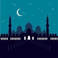 Mesquita Sheikh Zayed em Abu Dabi. Céu estrelado. vetor