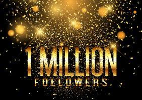 Fundo de celebração de confetes de um milhão de seguidores