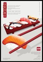 Cartaz, de, restaurante sushi, vetorial, ilustração