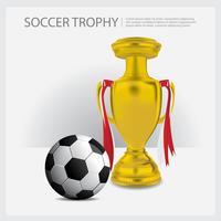 Copa do troféu de futebol e prêmios de ilustração vetorial
