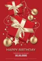 Feliz aniversário cartaz cartão celebração ilustração em vetor