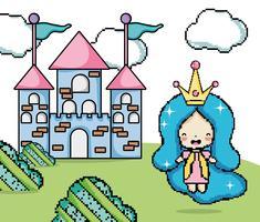 Cenário de fantasia de videogame pixelizado