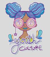 Desenhos animados millenial da mulher da cultura de juventude vetor