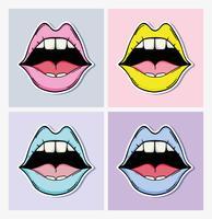 Conjunto de desenhos de pop art vetor