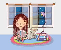 Menina, com, livros, desenhos animados vetor