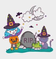 Desenhos animados bonitos de Halloween vetor