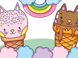Gatos e Sorvetes vetor