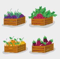 Conjunto de comida natural pixelizada vetor