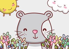 Cara de gato bonito dos desenhos animados com flores vetor