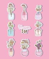 Conjunto de mason jar com desenhos de flores vetor