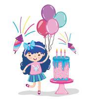 Desenhos de festa de aniversário de menina vetor