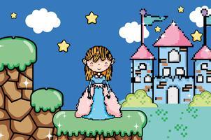Cenário de fantasia de videogame pixelizada bonito