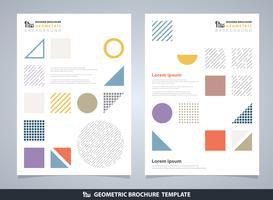 Brochura geométrica colorida abstrata. Design moderno do padrão de elementos geométricos.