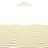 Linha dourada abstrata fundo ondulado da listra do oceano. vetor