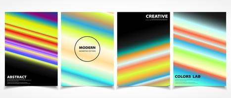Linha colorida abstrata conjunto de modelo de capa brochura na moda. ilustração vetorial eps10