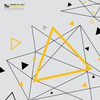 Projeto moderno abstrato do teste padrão do triângulo do preto futurista do amarelo do fundo. vetor