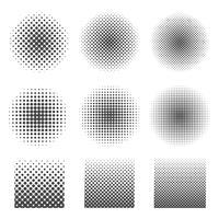 Conjunto de meio-tom abstrato de círculos e quadrados. vetor