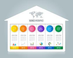 conceito de negócio infográfico design com 6 opções.