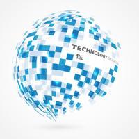 Fundo global da forma do círculo azul quadrado abstrato da tecnologia do inclinação. vetor