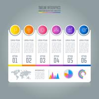Conceito de negócio infográfico Timeline com 6 opções.