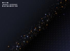 Linha geométrica teste padrão da listra do triângulo do ouro da abstração com brilhos do bokeh.