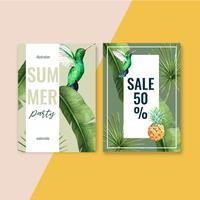 Festa de férias de design de cartão convite de verão no sol do mar praia, design criativo de ilustração vetorial aquarela