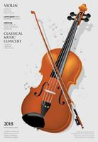 A ilustração do vetor de violino de conceito de música clássica
