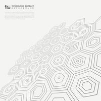 Perspectiva do teste padrão pentagonal no fundo preto e branco.