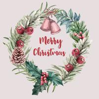 Quadro de grinalda floral desabrochando de inverno elegante para decoração vintage bonito, criativo ilustração em aquarela vector design