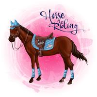 Cavalo em ilustração vetorial de equipamento equestre