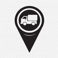 ícone de caminhão de carro de ponteiro de mapa vetor