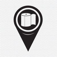 Ícone de papel higiênico de ponteiro de mapa vetor