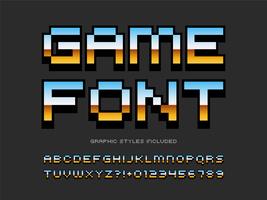 Alfabeto de pixel de videogame retrô