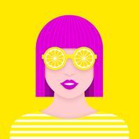 Retrato de mulher pop com óculos de sol de limão papel Art Design vetor