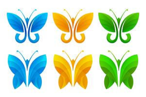 Ícones coloridos de borboleta abstrata vetor