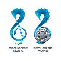 Ícones de música e filmes em forma de cavalos-marinhos vetor