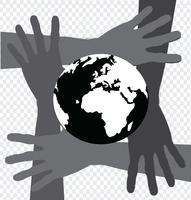 Mão segurando mundo e globo mãos idéia vetor