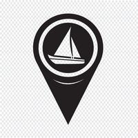 Ícone de barco à vela de ponteiro de mapa vetor