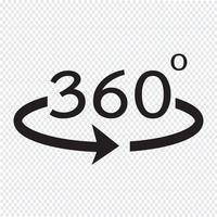 Ângulo de 360 graus ícone vetor