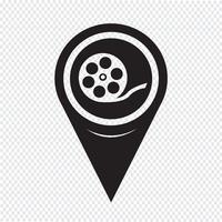 Ícone de rolo de filme de ponteiro de mapa vetor