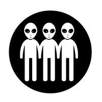Sinal de símbolo de ícone alienígena vetor