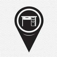 ícone de escritório de tabela de ponteiro de mapa