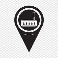 Ícone de roteador de ponteiro de mapa