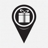 ícone de caixa de presente de ponteiro de mapa vetor