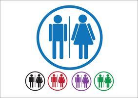 Pictograma homem mulher ícones de sinal, sinal de banheiro ou ícone de banheiro vetor