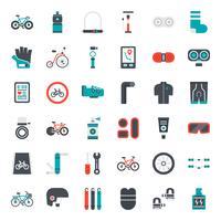 ícone plana de acessórios de bicicleta vetor
