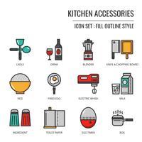 ícone de acessórios de cozinha vetor