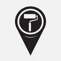 Rolo de pintura de ponteiro de mapa ícone vetor