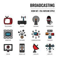 Ícone de contorno cheio de radiodifusão