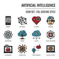 Ícone de inteligência artificial vetor